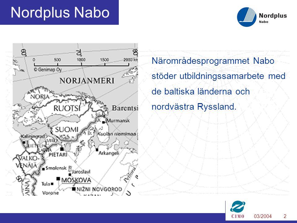 03/20042 Nordplus Nabo Närområdesprogrammet Nabo stöder utbildningssamarbete med de baltiska länderna och nordvästra Ryssland.
