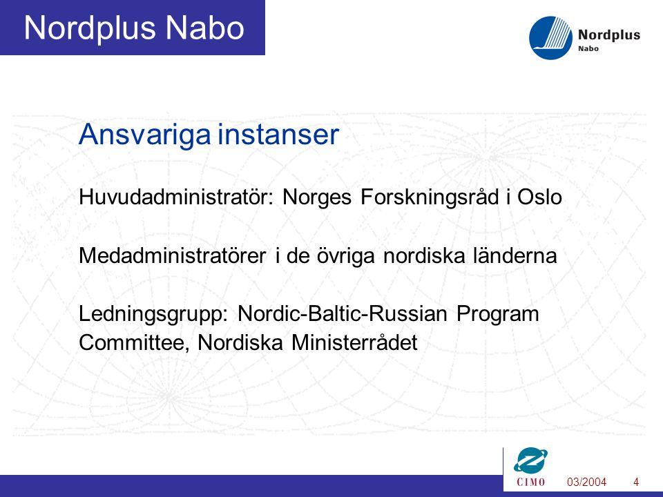 03/20044 Nordplus Nabo Ansvariga instanser Huvudadministratör: Norges Forskningsråd i Oslo Medadministratörer i de övriga nordiska länderna Ledningsgrupp: Nordic-Baltic-Russian Program Committee, Nordiska Ministerrådet