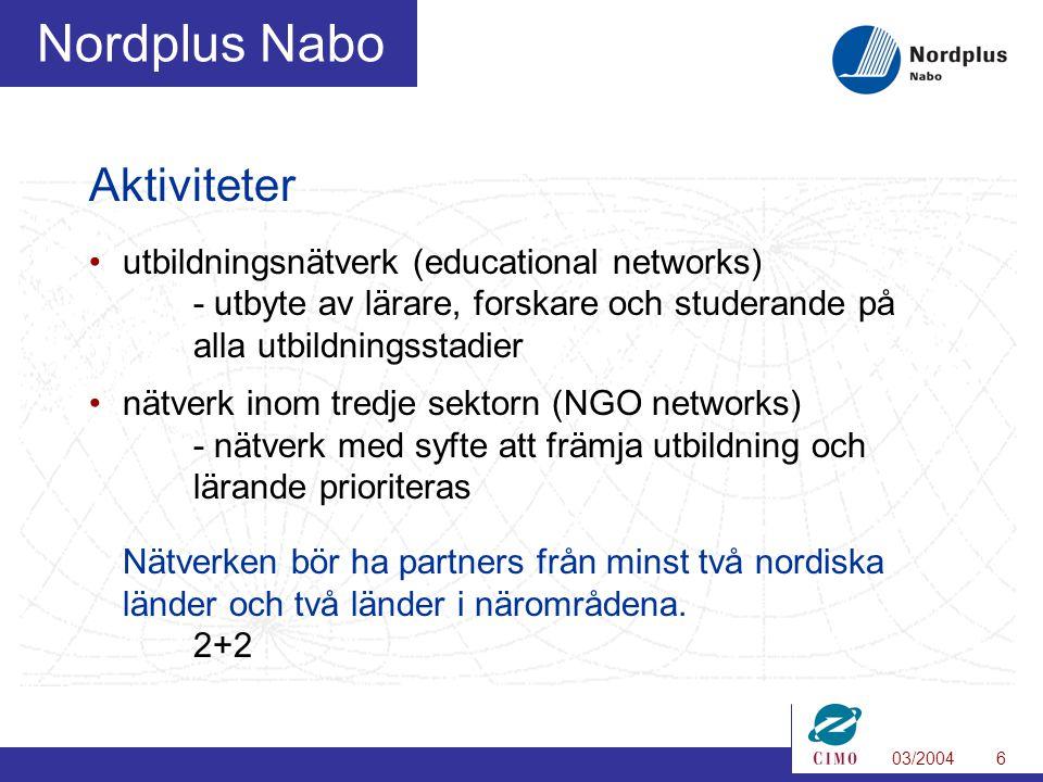 03/20046 Nordplus Nabo Aktiviteter utbildningsnätverk (educational networks) - utbyte av lärare, forskare och studerande på alla utbildningsstadier nätverk inom tredje sektorn (NGO networks) - nätverk med syfte att främja utbildning och lärande prioriteras Nätverken bör ha partners från minst två nordiska länder och två länder i närområdena.