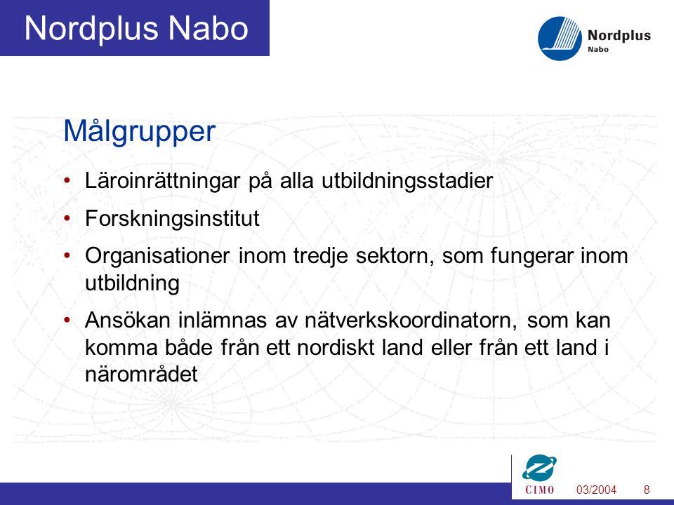 03/20048 Nordplus Nabo Målgrupper Läroinrättningar på alla utbildningsstadier Forskningsinstitut Organisationer inom tredje sektorn, som fungerar inom utbildning Ansökan inlämnas av nätverkskoordinatorn, som kan komma både från ett nordiskt land eller från ett land i närområdet