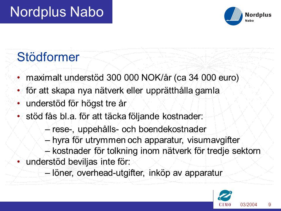 03/20049 Nordplus Nabo Stödformer maximalt understöd 300 000 NOK/år (ca 34 000 euro) för att skapa nya nätverk eller upprätthålla gamla understöd för högst tre år stöd fås bl.a.