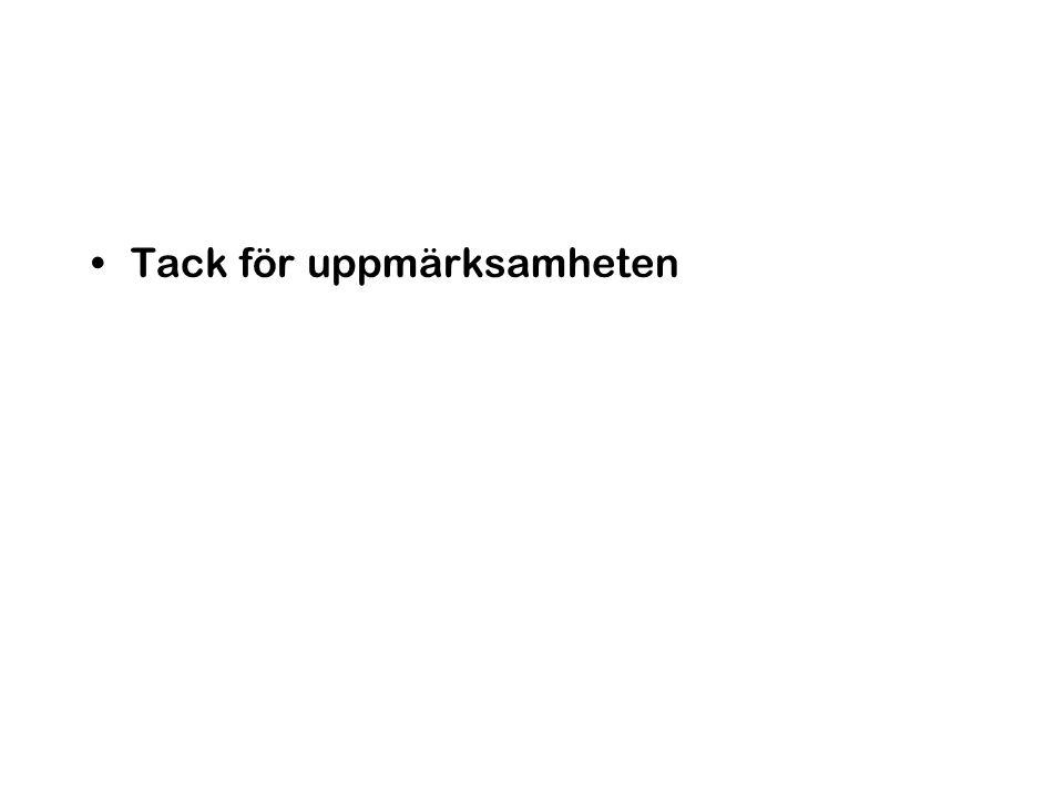 Organisation forts Koordinering av delområden –Hälsa: Göran Pershagen, –Partiklar HC Hansson, –Ekosystem John Munthe, –Beslutsstöd Jenny Arnell –Övergripande koordinering och ansvarig gentemot Naturvårdsverket: Peringe Grennfelt –Kommunikation Jenny Arnell