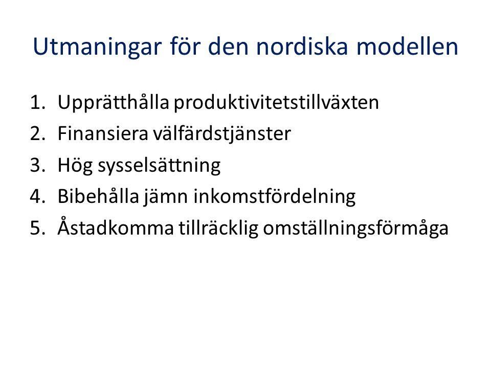 Utmaningar för den nordiska modellen 1.Upprätthålla produktivitetstillväxten 2.Finansiera välfärdstjänster 3.Hög sysselsättning 4.Bibehålla jämn inkom
