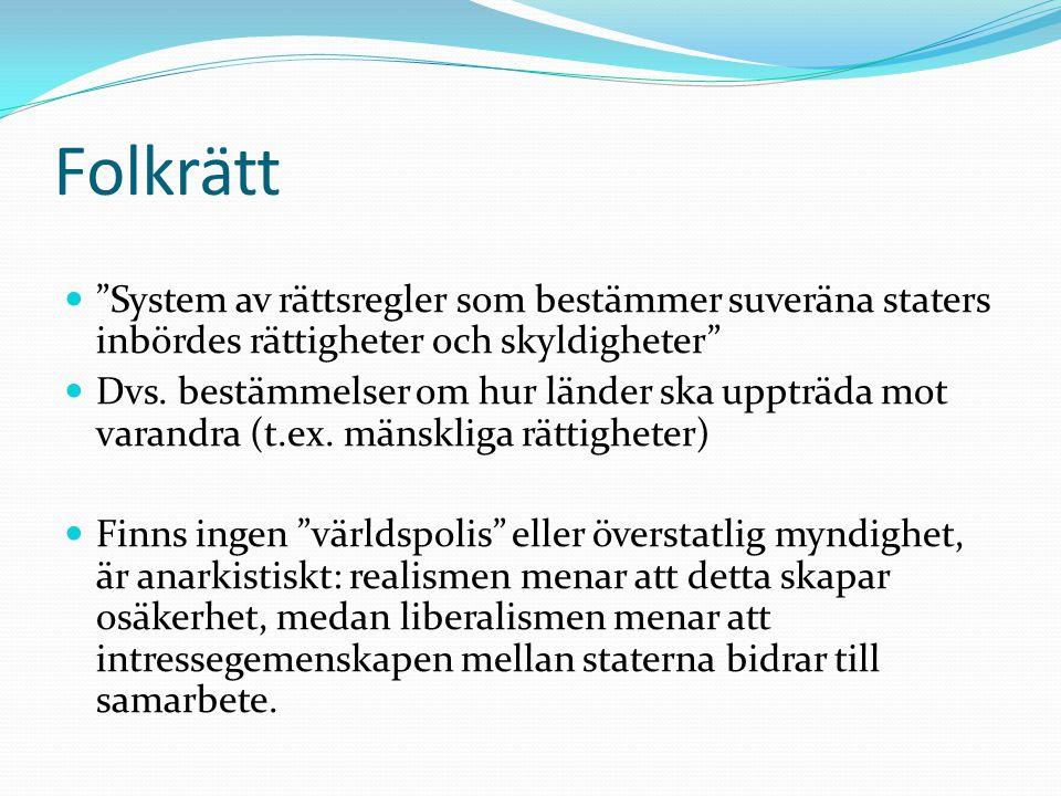 """Folkrätt """"System av rättsregler som bestämmer suveräna staters inbördes rättigheter och skyldigheter"""" Dvs. bestämmelser om hur länder ska uppträda mot"""