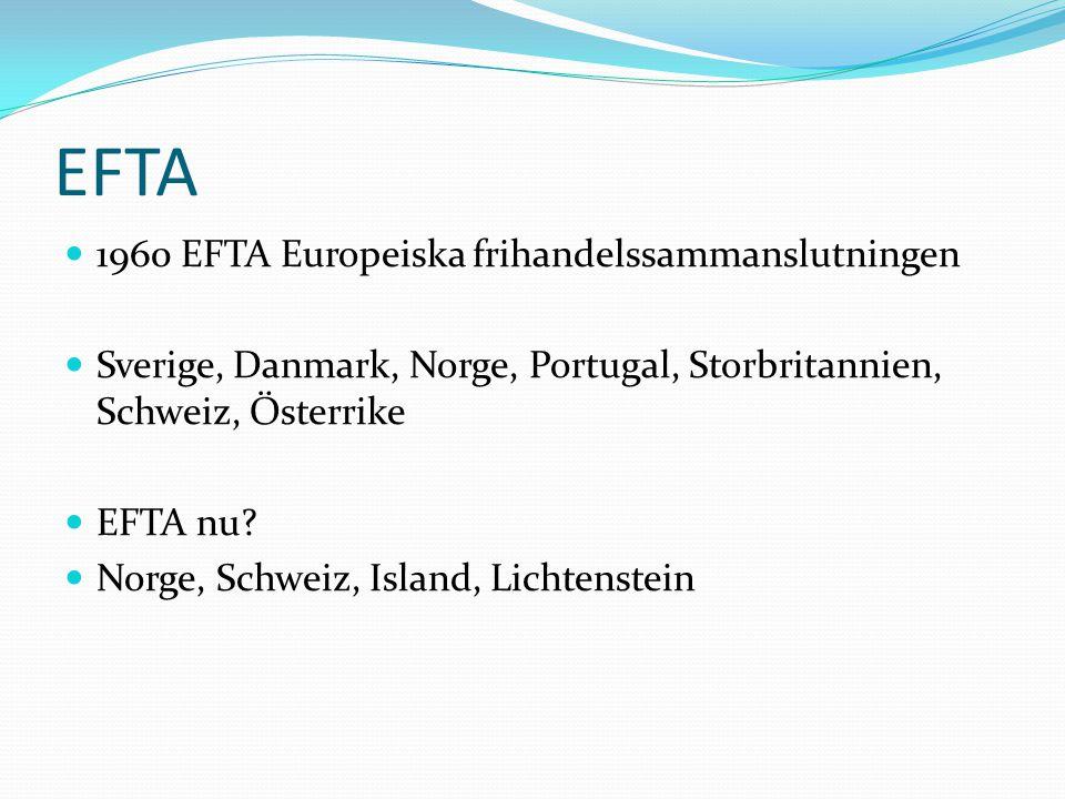 EFTA 1960 EFTA Europeiska frihandelssammanslutningen Sverige, Danmark, Norge, Portugal, Storbritannien, Schweiz, Österrike EFTA nu? Norge, Schweiz, Is