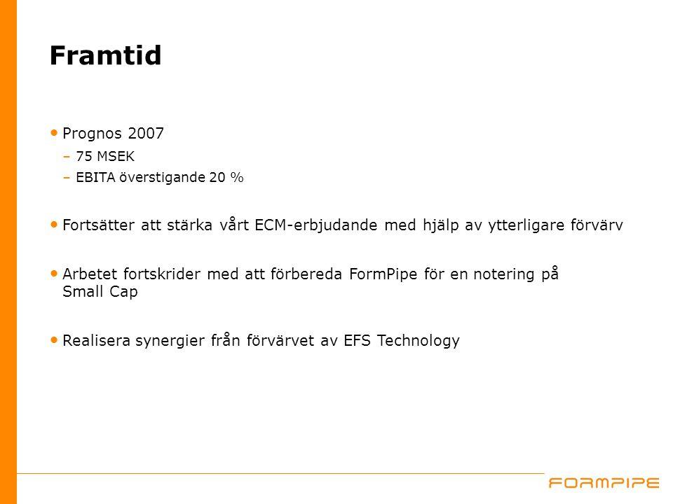 Framtid Prognos 2007 –75 MSEK –EBITA överstigande 20 % Fortsätter att stärka vårt ECM-erbjudande med hjälp av ytterligare förvärv Arbetet fortskrider