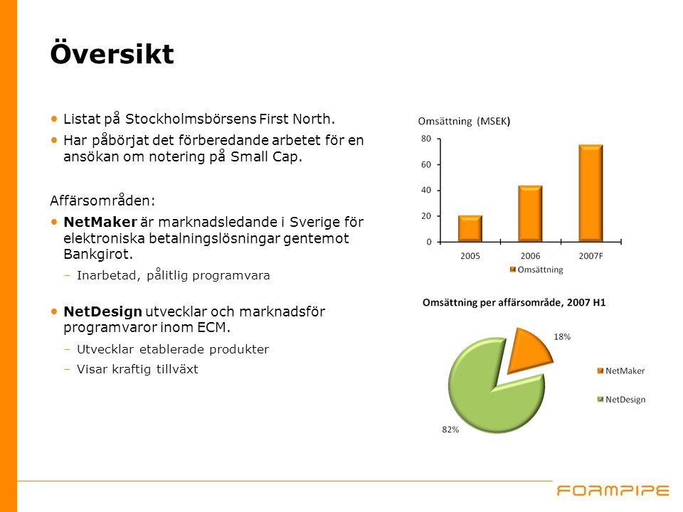 Översikt Listat på Stockholmsbörsens First North. Har påbörjat det förberedande arbetet för en ansökan om notering på Small Cap. Affärsområden: NetMak
