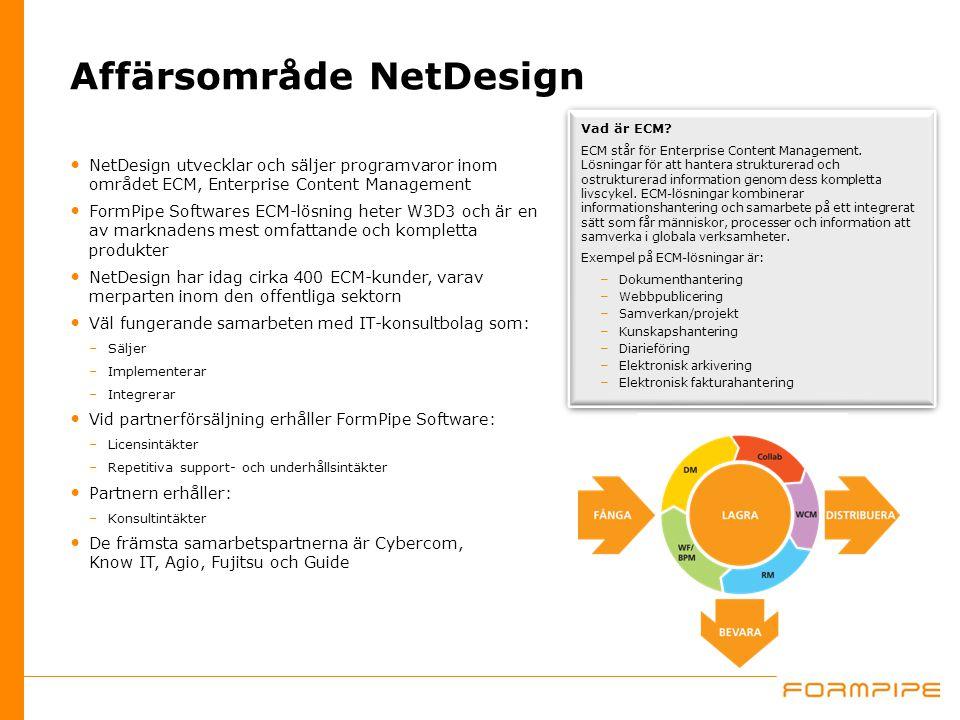 Affärsområde NetDesign NetDesign utvecklar och säljer programvaror inom området ECM, Enterprise Content Management FormPipe Softwares ECM-lösning hete