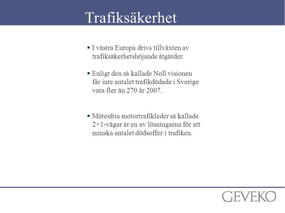  I västra Europa drivs tillväxten av trafiksäkerhetshöjande åtgärder.  Enligt den så kallade Noll visionen får inte antalet trafikdödade i Sverige v