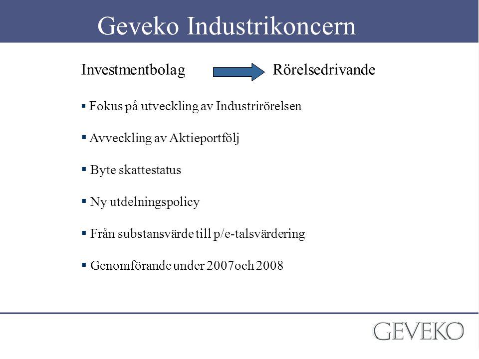 Geveko Industrikoncern Investmentbolag Rörelsedrivande  Fokus på utveckling av Industrirörelsen  Avveckling av Aktieportfölj  Byte skattestatus  N