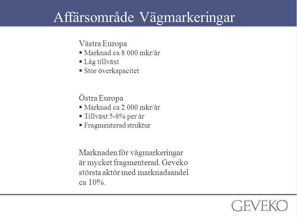 Zaberd 18,5% Technom 12,3% Dubr 12%Other 57,2% Entreprenadmarknaden geografiskt UK 14,9% Germany 17,7% France 17,7% Spain 8,3% Italy 5,5% Belgium 4,5% Sweden 3,5% Turkey 2,8% Netherlands 2,9% Poland 3,0% Swarco 9.0% Swarco (co-op) 9% Volkmann 5% Other 77% Others 43% Helios/ Maestria 15% Signature 19%Colas 23% WJ group 12% Geveko (LML) 7% Other 61%Prismo 20% Other 63% Grupisa 15% API 12% Marcas 10% Other 60% Gubela 16% Nuova Omegi 12% GAU 12% Other 59,7% Trafiroad 9,5% Gasto de Groote 21,3% Eurlines 9,5% Ven Velsen 28,7%Heymans 22,3% Multiline 9,6% Other 39,1% Other 9,3% TCK 56,5%Kisan 13% Ulukur 11,9% Other 18,6% Austria 2,3% Eire 1,8% Denmark 1,5% Teerag ASDAG 23,1% Heroscont (Swarco) 21,5%Schleich 13,8%Other 41,6% Macloclainn 17%Highway Markings 16%Kelly Bros 15%Other 52% Geveko (LKF) 41,7%Euroskilt (Eurosta)r 22,3%Public 8,9%Other 27,1% Others Geveko 45,4%VVP 29,4% Other 9,6% Euroskilt (EKC) 15,5% Russia 4,3% Ruslafplast 16,7% Complex 16,7% Madi practic 16,7% Mag 16,7% Dorplast 16,7% NITC 16,7% Vägmarkeringsmarknaden i Europa