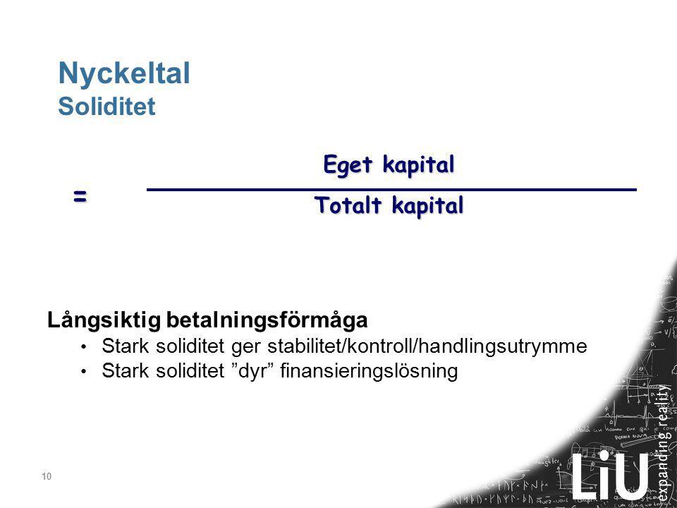 10 Nyckeltal Soliditet Eget kapital Totalt kapital = Långsiktig betalningsförmåga Stark soliditet ger stabilitet/kontroll/handlingsutrymme Stark solid