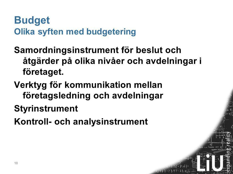 18 Budget Olika syften med budgetering Samordningsinstrument för beslut och åtgärder på olika nivåer och avdelningar i företaget. Verktyg för kommunik