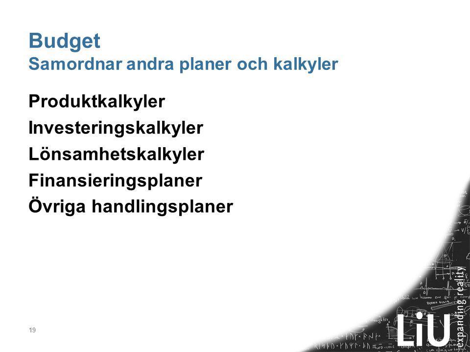 19 Budget Samordnar andra planer och kalkyler Produktkalkyler Investeringskalkyler Lönsamhetskalkyler Finansieringsplaner Övriga handlingsplaner