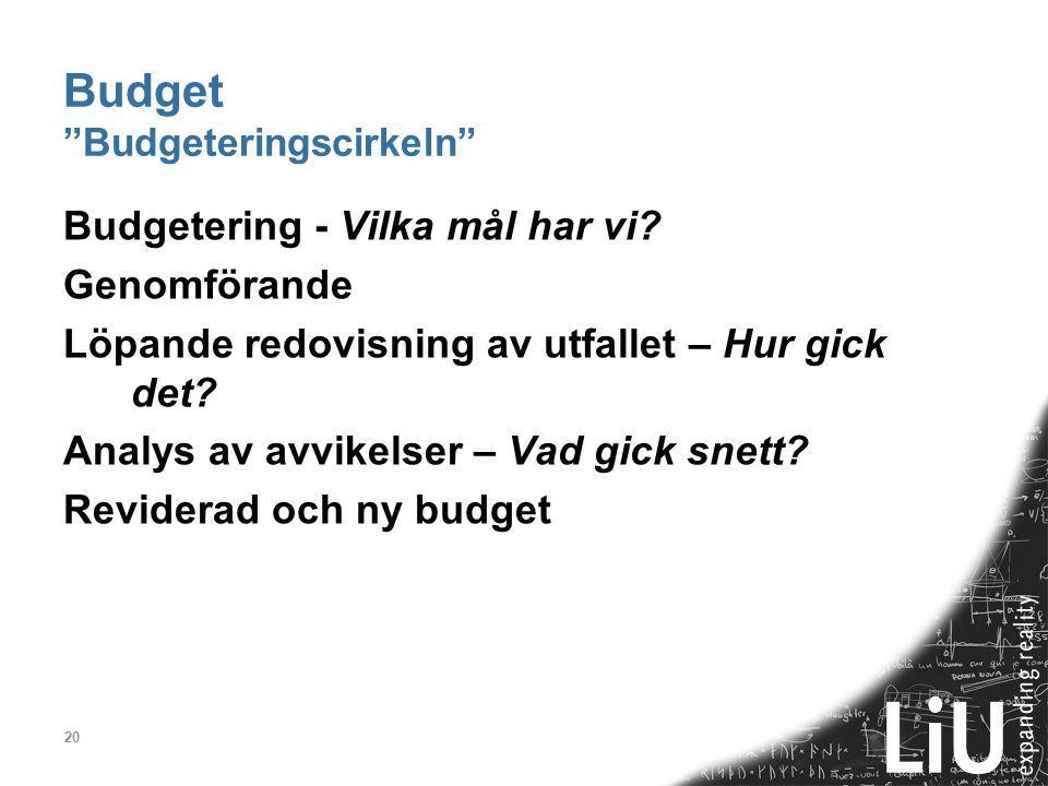 """20 Budget """"Budgeteringscirkeln"""" Budgetering - Vilka mål har vi? Genomförande Löpande redovisning av utfallet – Hur gick det? Analys av avvikelser – Va"""