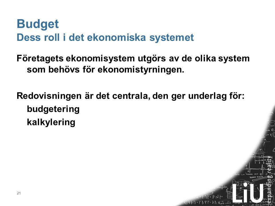 21 Budget Dess roll i det ekonomiska systemet Företagets ekonomisystem utgörs av de olika system som behövs för ekonomistyrningen. Redovisningen är de