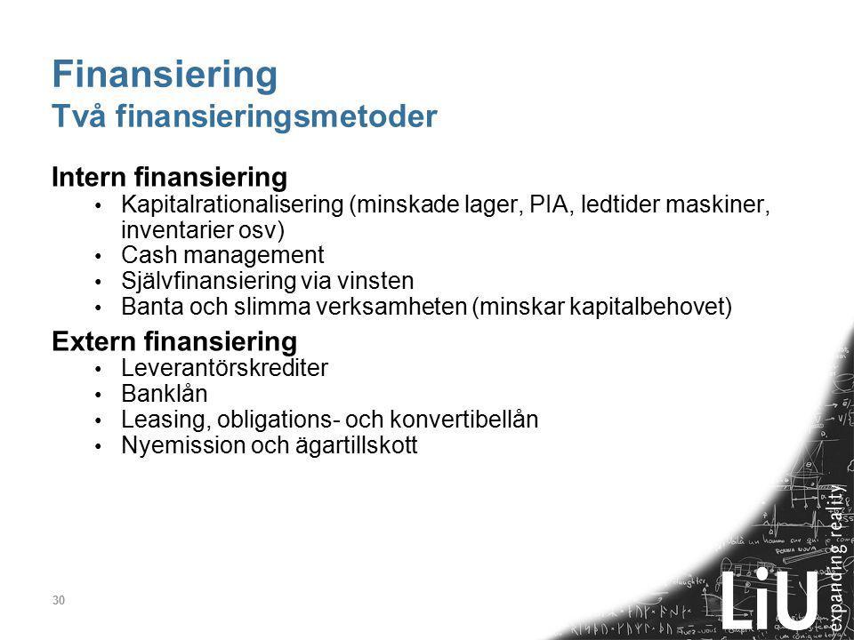 30 Finansiering Två finansieringsmetoder Intern finansiering Kapitalrationalisering (minskade lager, PIA, ledtider maskiner, inventarier osv) Cash man