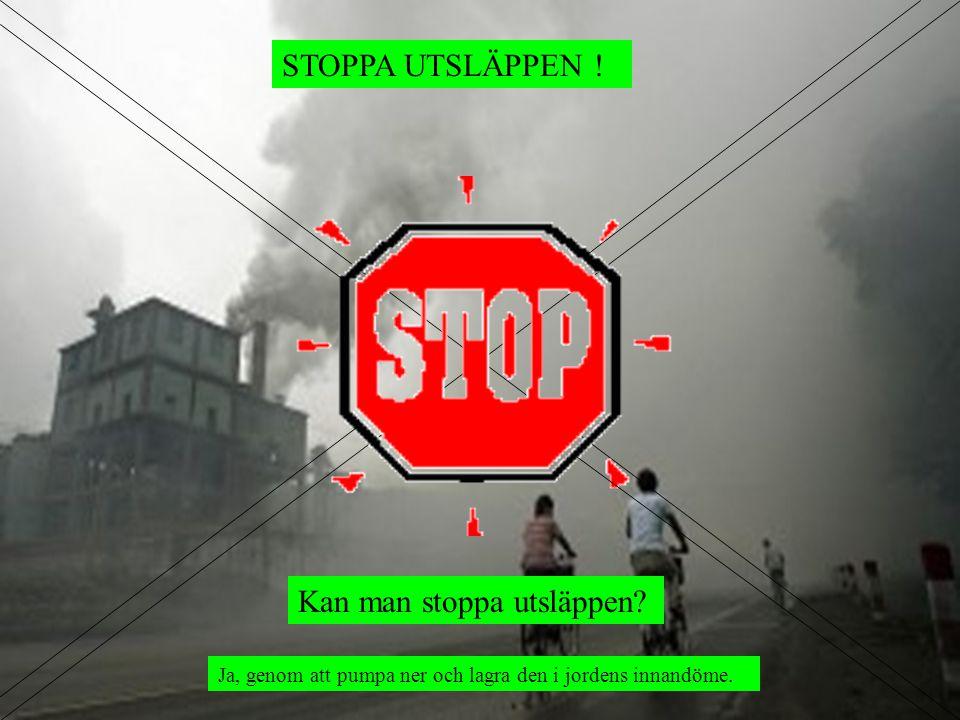 STOPPA UTSLÄPPEN ! Ja, genom att pumpa ner och lagra den i jordens innandöme. Kan man stoppa utsläppen?