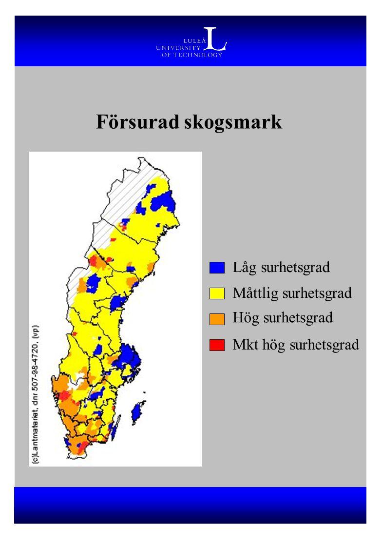 Försurad skogsmark Låg surhetsgrad Måttlig surhetsgrad Hög surhetsgrad Mkt hög surhetsgrad