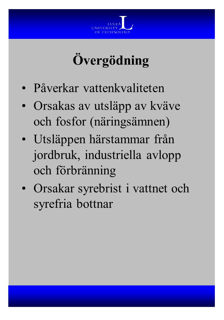 Övergödning Sjöar och hav runt södra Sverige hårt drabbat 15 000 sjöar har så hög fosforhalt att de betraktas som eutrofa Hot mot Östersjön Drabbar även mark, som främst påverkas av kväveutsläpp Utsläppen av P och N måste minska med 70-80% för att nå en naturlig balans