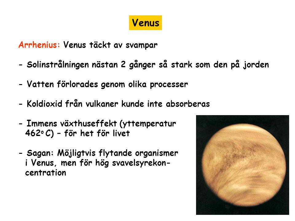 Venus Arrhenius: Venus täckt av svampar - Solinstrålningen nästan 2 gånger så stark som den på jorden - Vatten förlorades genom olika processer - Koldioxid från vulkaner kunde inte absorberas - Immens växthuseffekt (yttemperatur 462 o C) – för het för livet - Sagan: Möjligtvis flytande organismer i Venus, men för hög svavelsyrekon- centration