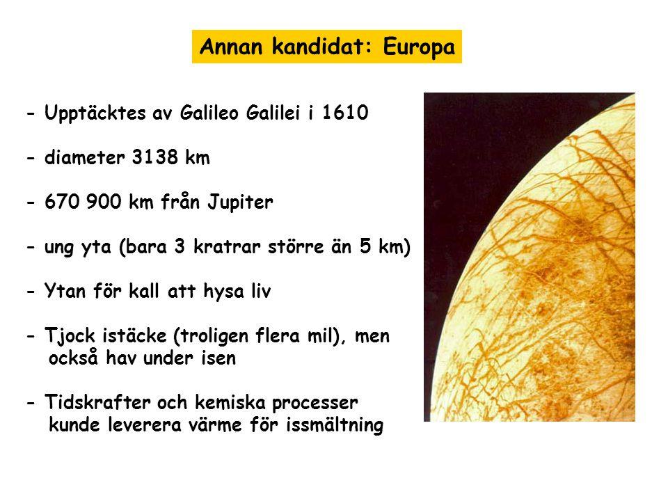 Annan kandidat: Europa - Upptäcktes av Galileo Galilei i 1610 - diameter 3138 km - 670 900 km från Jupiter - ung yta (bara 3 kratrar större än 5 km) - Ytan för kall att hysa liv - Tjock istäcke (troligen flera mil), men också hav under isen - Tidskrafter och kemiska processer kunde leverera värme för issmältning