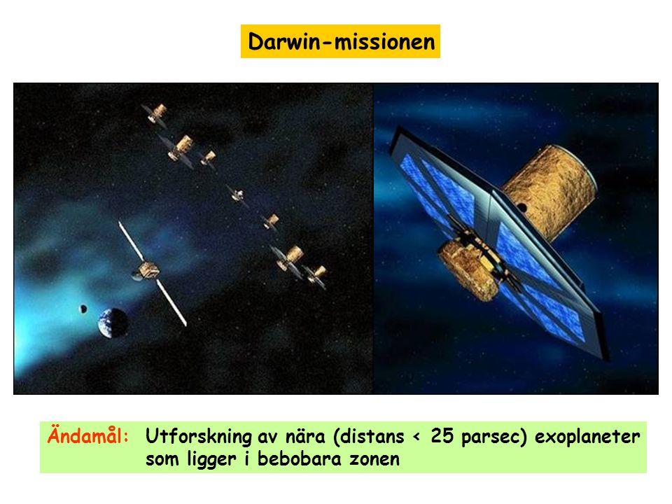 Darwin-missionen Ändamål: Utforskning av nära (distans < 25 parsec) exoplaneter som ligger i bebobara zonen