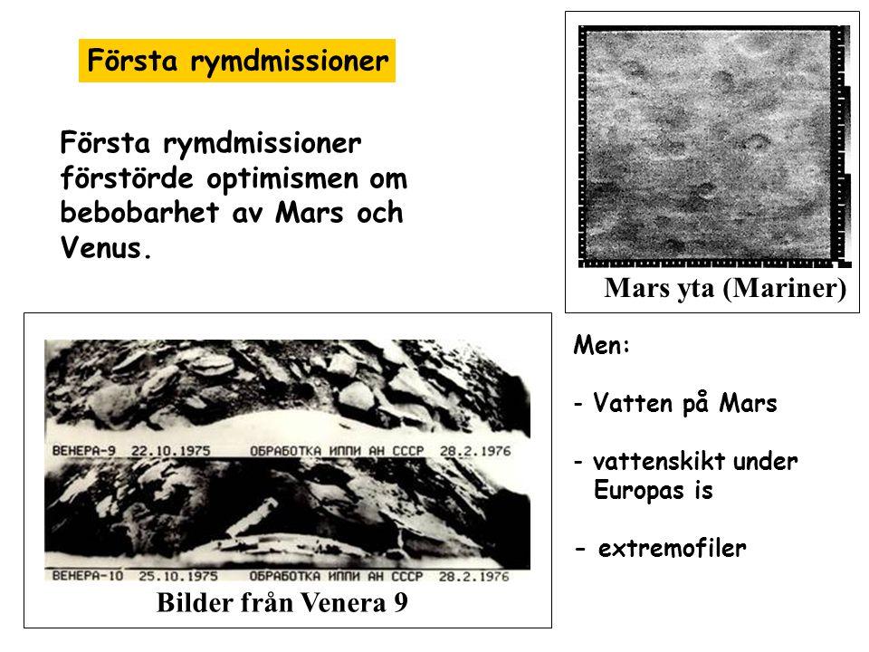 Chans för liv på Mars -Vatten i fast form närvarande (bekräftas av Phoenix) - Troligen också flytande vatten - Tunn atmosfär Phoenix lander Spår av frusen vatten