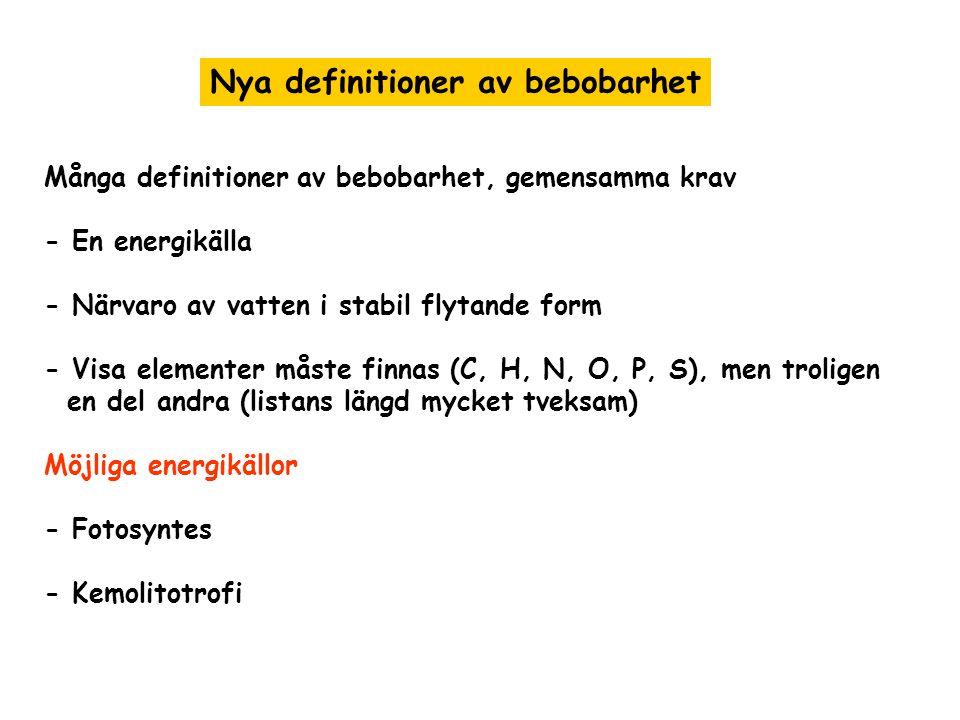 Många definitioner av bebobarhet, gemensamma krav - En energikälla - Närvaro av vatten i stabil flytande form - Visa elementer måste finnas (C, H, N, O, P, S), men troligen en del andra (listans längd mycket tveksam) Möjliga energikällor - Fotosyntes - Kemolitotrofi Nya definitioner av bebobarhet