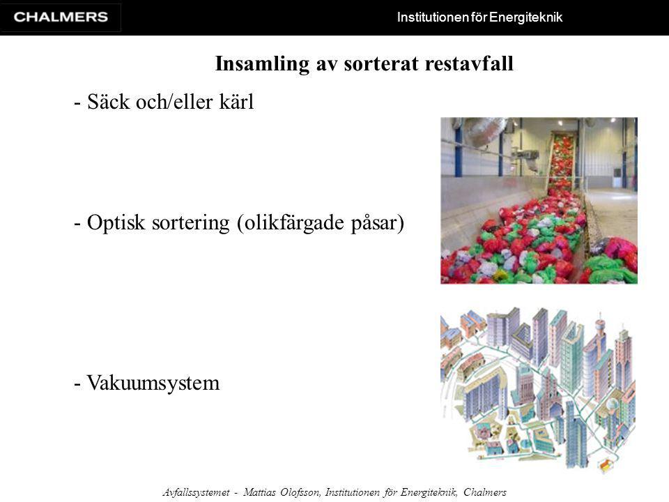 Institutionen för Energiteknik Avfallssystemet - Mattias Olofsson, Institutionen för Energiteknik, Chalmers Insamling av sorterat restavfall - Säck oc