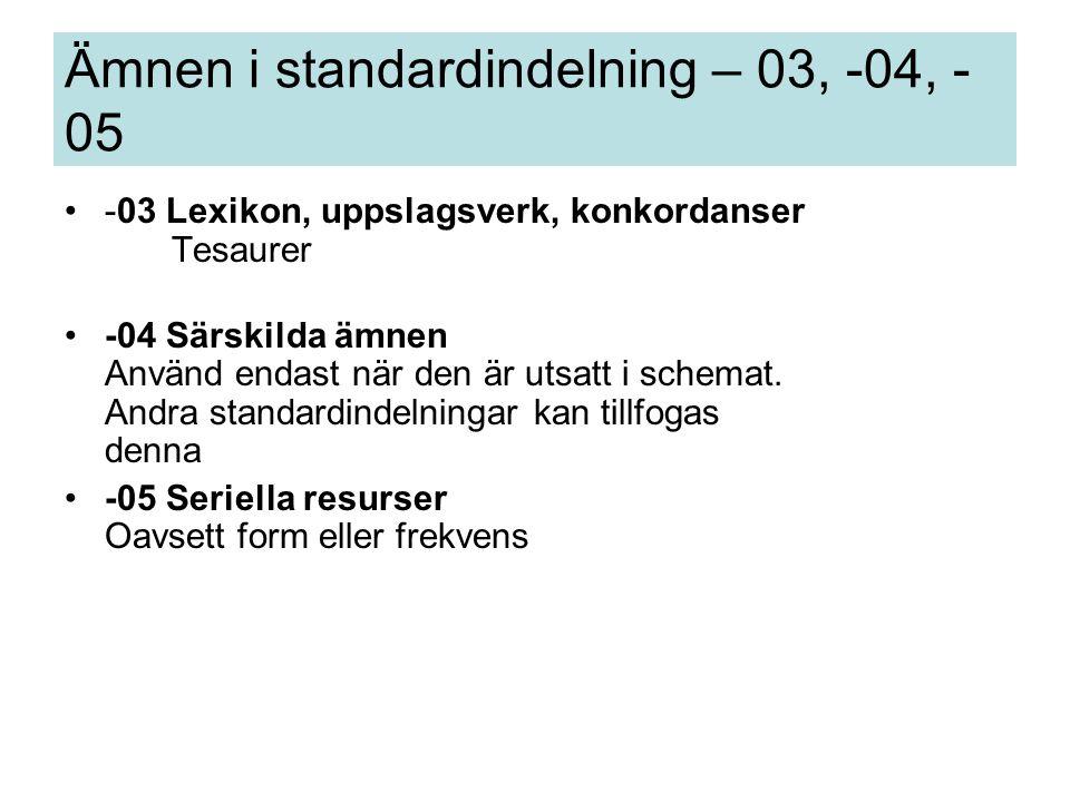 -03 Lexikon, uppslagsverk, konkordanser Tesaurer -04 Särskilda ämnen Använd endast när den är utsatt i schemat.