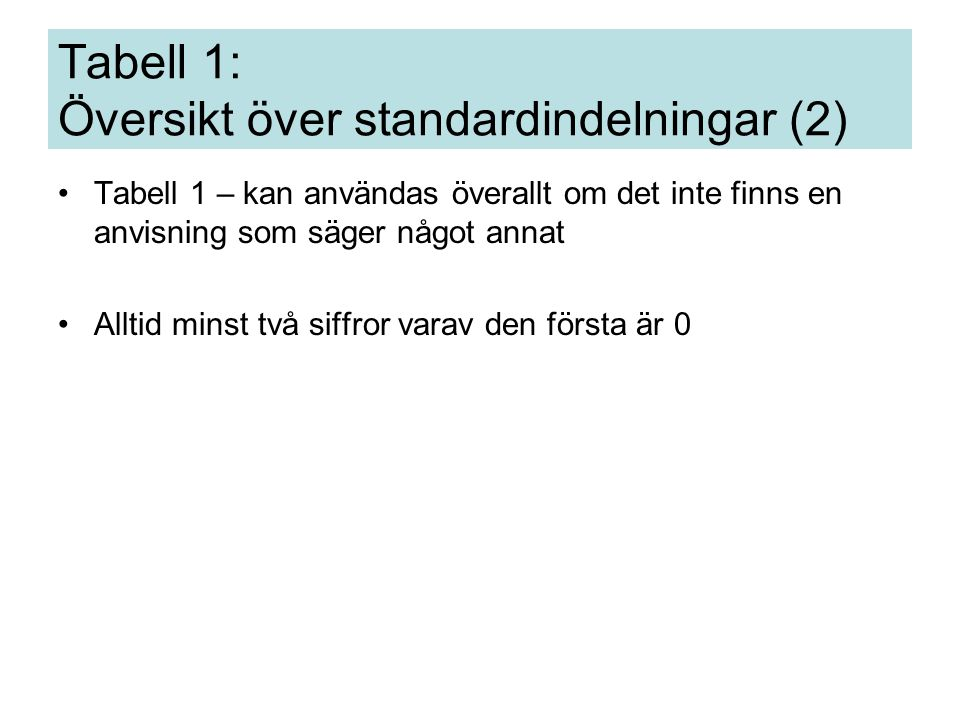 Tabell 1 Redundans Tillfoga inte standardindelning som är underförstådd, t.ex.