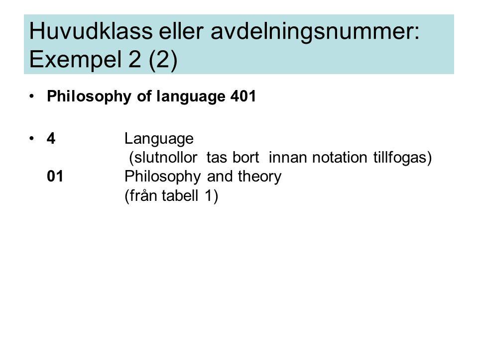 Philosophy of language 401 4Language (slutnollor tas bort innan notation tillfogas) 01Philosophy and theory (från tabell 1) Huvudklass eller avdelningsnummer: Exempel 2 (2)