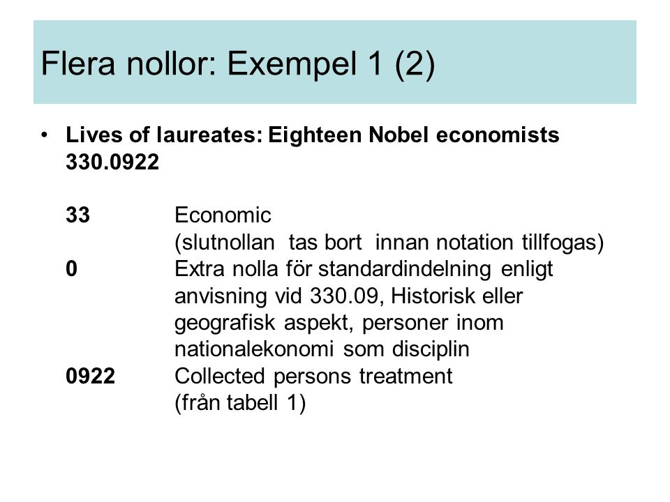 Lives of laureates: Eighteen Nobel economists 330.0922 33Economic (slutnollan tas bort innan notation tillfogas) 0Extra nolla för standardindelning en