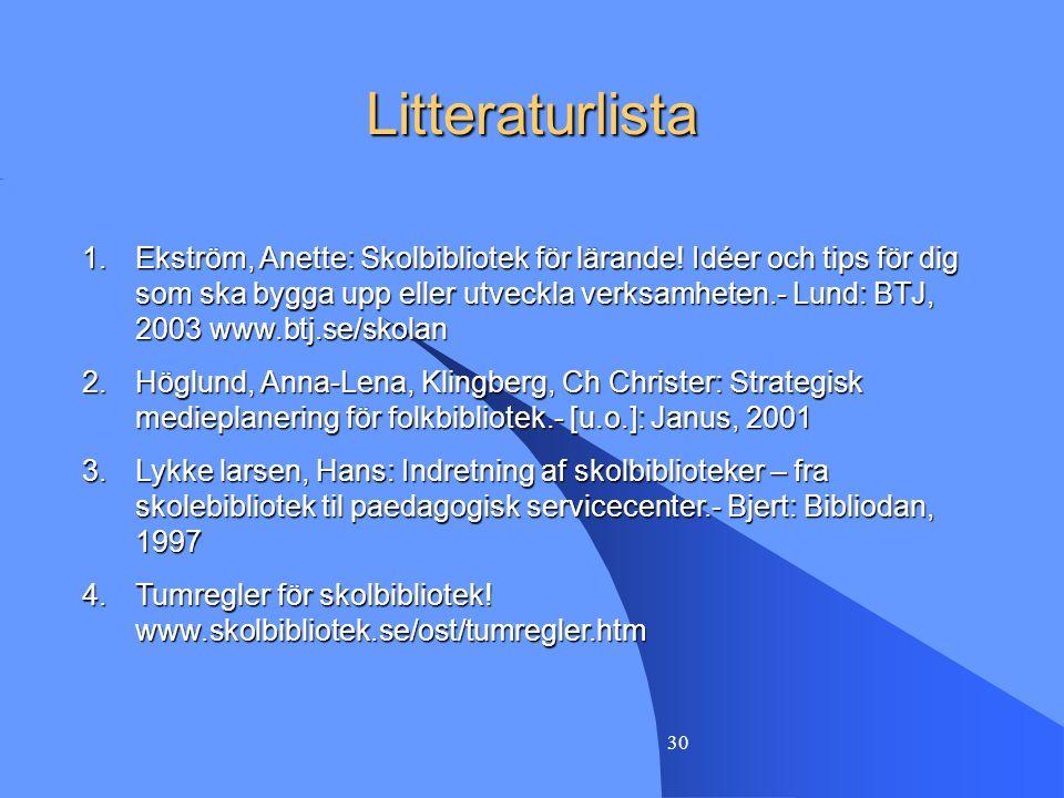 30 Litteraturlista 1.Ekström, Anette: Skolbibliotek för lärande! Idéer och tips för dig som ska bygga upp eller utveckla verksamheten.- Lund: BTJ, 200