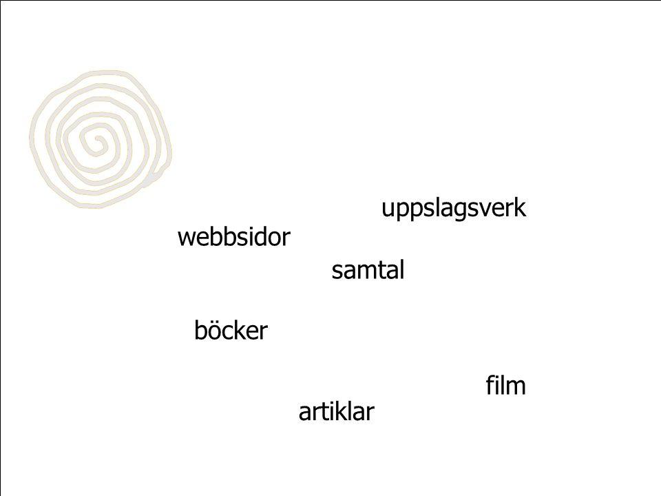webbsidor böcker uppslagsverk samtal film artiklar