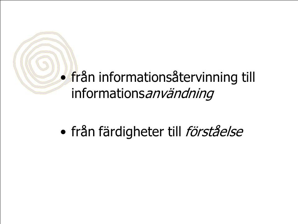 Sökprocessen inse vilken information som behövs söka fram, utvärdera & välja information använda informationen: tolka, analysera, lösa problem eller uppgift, skapa ny kunskap