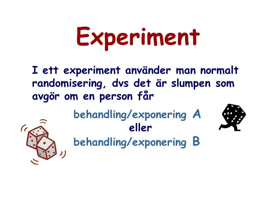 Experiment I ett experiment använder man normalt randomisering, dvs det är slumpen som avgör om en person får behandling/exponering A eller behandling