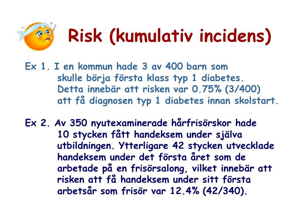 Risk (kumulativ incidens) Ex 1. I en kommun hade 3 av 400 barn som skulle börja första klass typ 1 diabetes. Detta innebär att risken var 0.75% (3/400