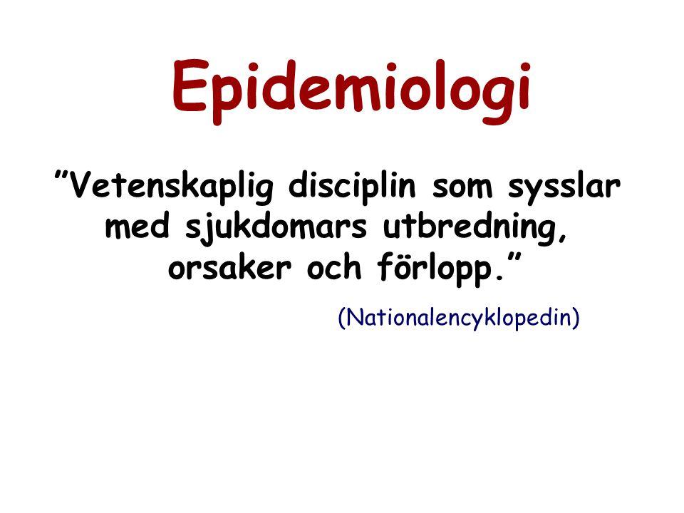 """Epidemiologi """"Vetenskaplig disciplin som sysslar med sjukdomars utbredning, orsaker och förlopp."""" (Nationalencyklopedin)"""