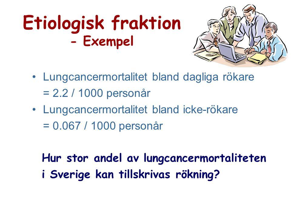 Etiologisk fraktion - Exempel Lungcancermortalitet bland dagliga rökare = 2.2 / 1000 personår Lungcancermortalitet bland icke-rökare = 0.067 / 1000 pe