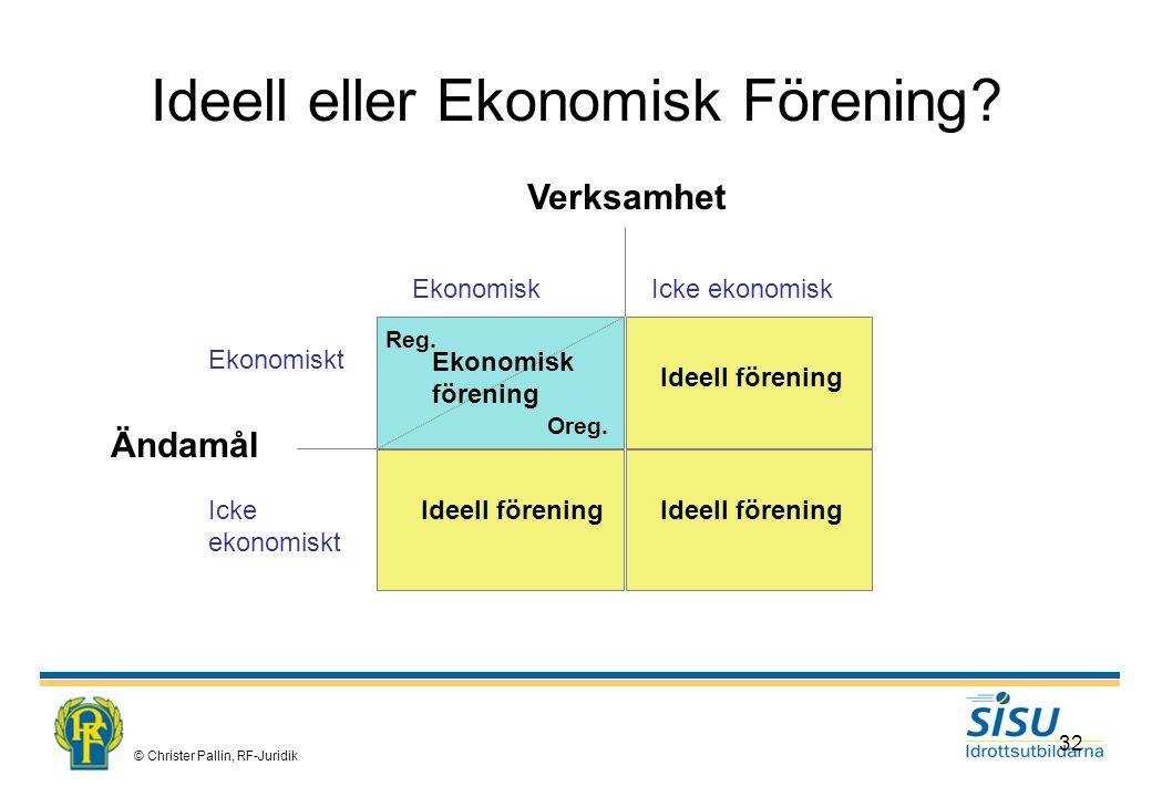 © Christer Pallin, RF-Juridik 32 Ideell eller Ekonomisk Förening.