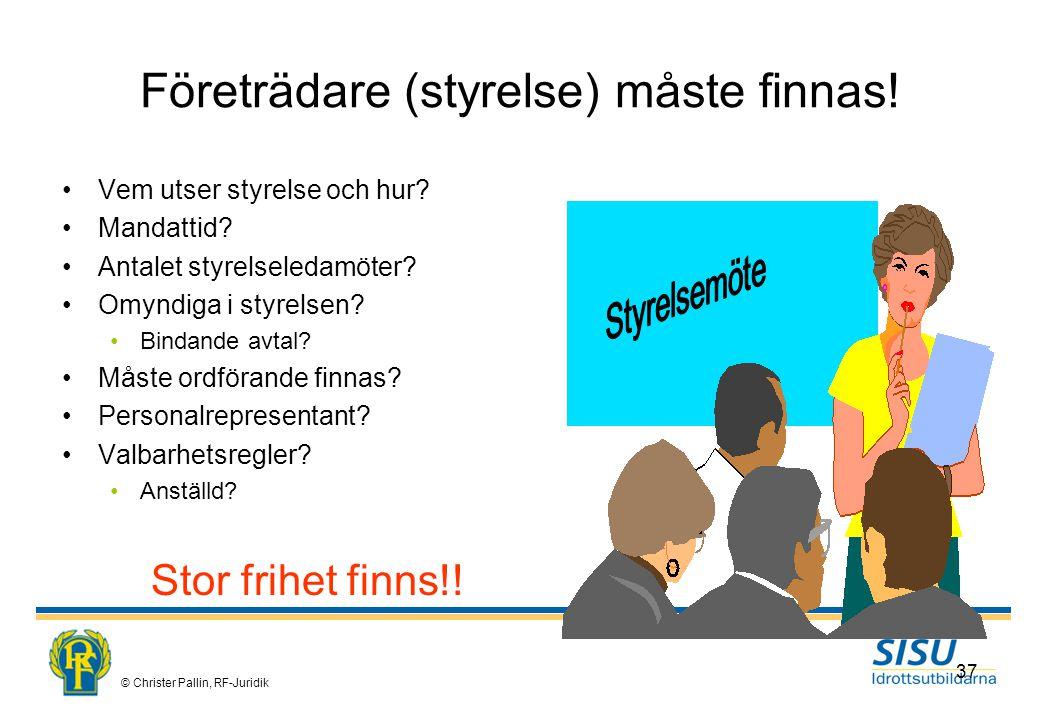 © Christer Pallin, RF-Juridik 37 Företrädare (styrelse) måste finnas.