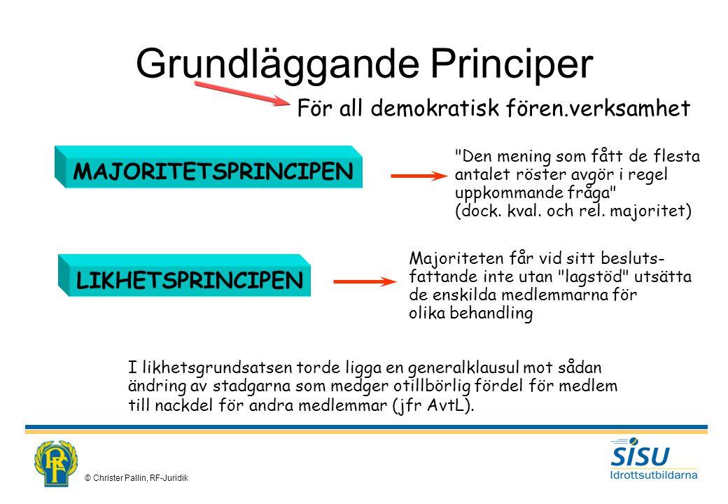 © Christer Pallin, RF-Juridik För all demokratisk fören.verksamhet MAJORITETSPRINCIPEN Den mening som fått de flesta antalet röster avgör i regel uppkommande fråga (dock.