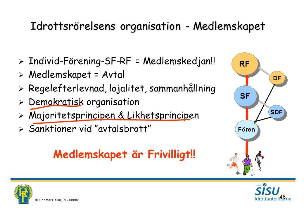 © Christer Pallin, RF-Juridik 46 Idrottsrörelsens organisation - Medlemskapet  Individ-Förening-SF-RF = Medlemskedjan!.