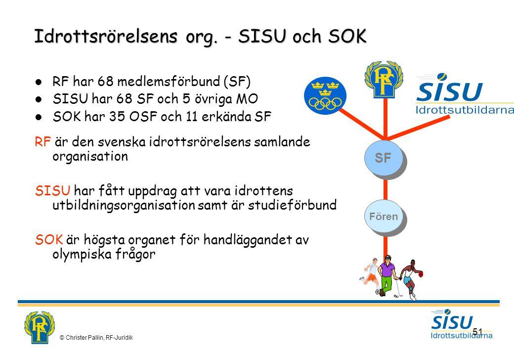 © Christer Pallin, RF-Juridik 51 Idrottsrörelsens org.