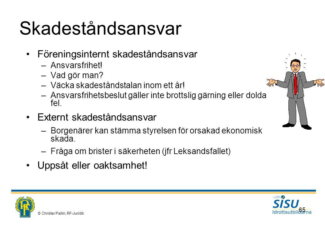 © Christer Pallin, RF-Juridik 65 Skadeståndsansvar Föreningsinternt skadeståndsansvar –Ansvarsfrihet.
