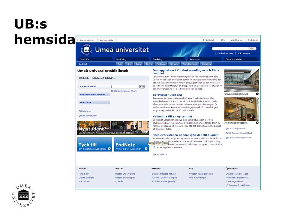 Några viktiga informationskällor Databaser E-böcker Tidskrifter Uppslagsverk