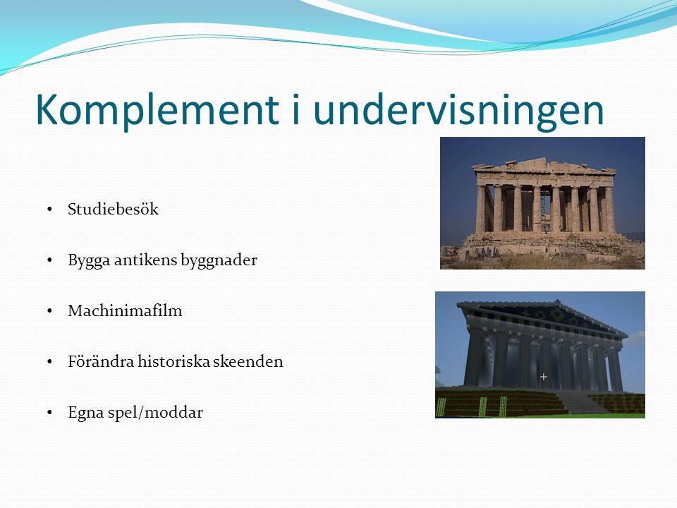 Komplement i undervisningen Studiebesök Bygga antikens byggnader Machinimafilm Förändra historiska skeenden Egna spel/moddar