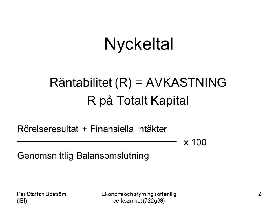Per Staffan Boström (IEI) Ekonomi och styrning i offentlig verksamhet (722g39) 3 Avkastning (R syss ) på sysselsatt Kapital Rörelseresultat + finansiella intäkter x 100 Genomsnittligt Sysselsatt Kapital Sysselsatt kapital = Balansomslutning./.